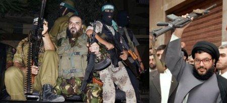 Nizar Rayyan (t.v.) och Hassan Nasrallah (t.h.)