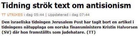 """TT om """"antisionism"""""""