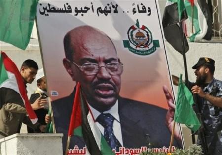 Palestinier demonstrerar för Omar al-Bashir. AP 6 mars 2009.