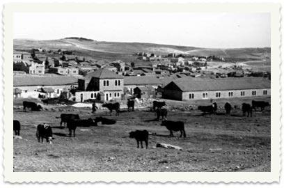 """Stadsdelarna Beit Israel och Mea Shearim på 30-talet. I horisonten syns den lilla kulle på vilken stadsdelen """"French Hill"""" byggdes på 1970-talet. Som synes öde."""